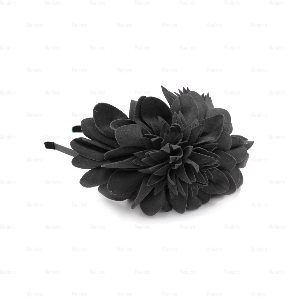 Suede-Two-Tone-Flower-Headband Headband Manière Grey