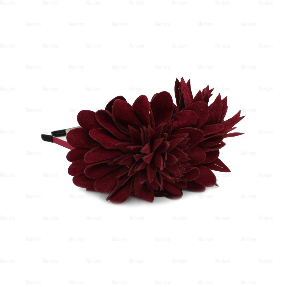 Load image into Gallery viewer, Suede-Two-Tone-Flower-Headband Headband Manière Maroon