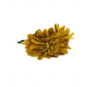 Load image into Gallery viewer, Suede-Two-Tone-Flower-Headband Headband Manière Mustard