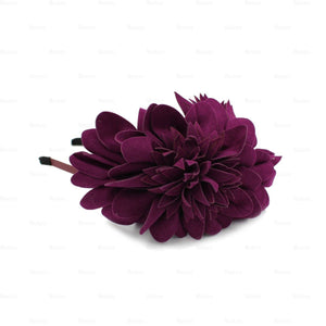 Suede-Two-Tone-Flower-Headband Headband Manière Purple