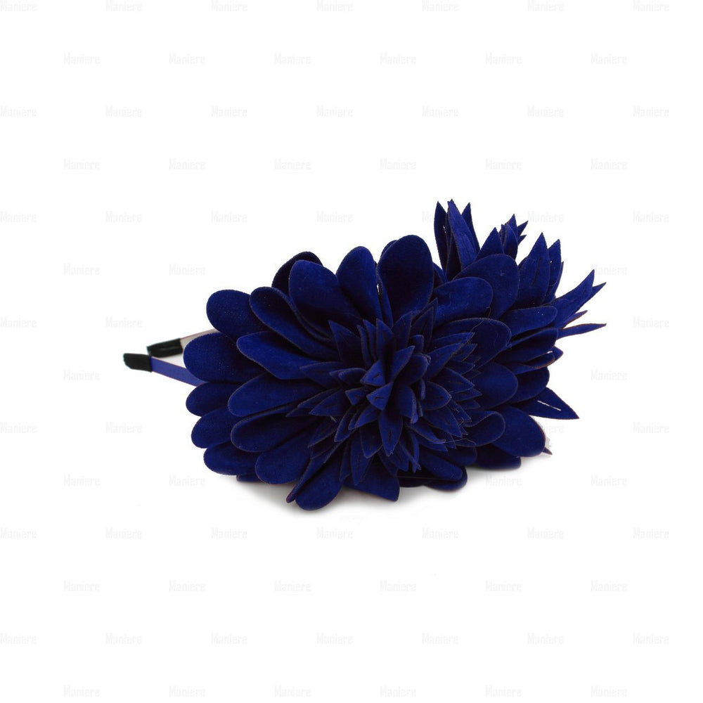 Suede-Two-Tone-Flower-Headband Headband Manière Royal Blue