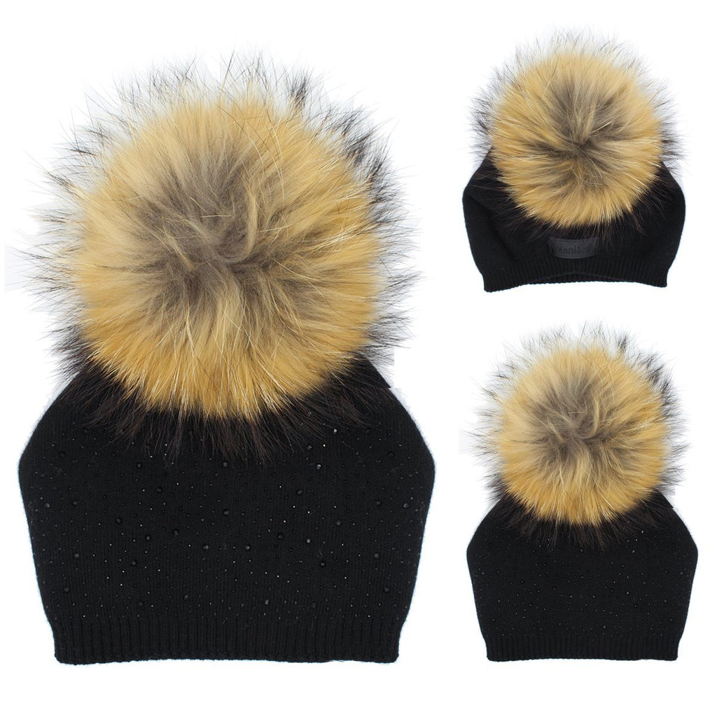 Sewn Knit Wool Hat Jumbo Fur