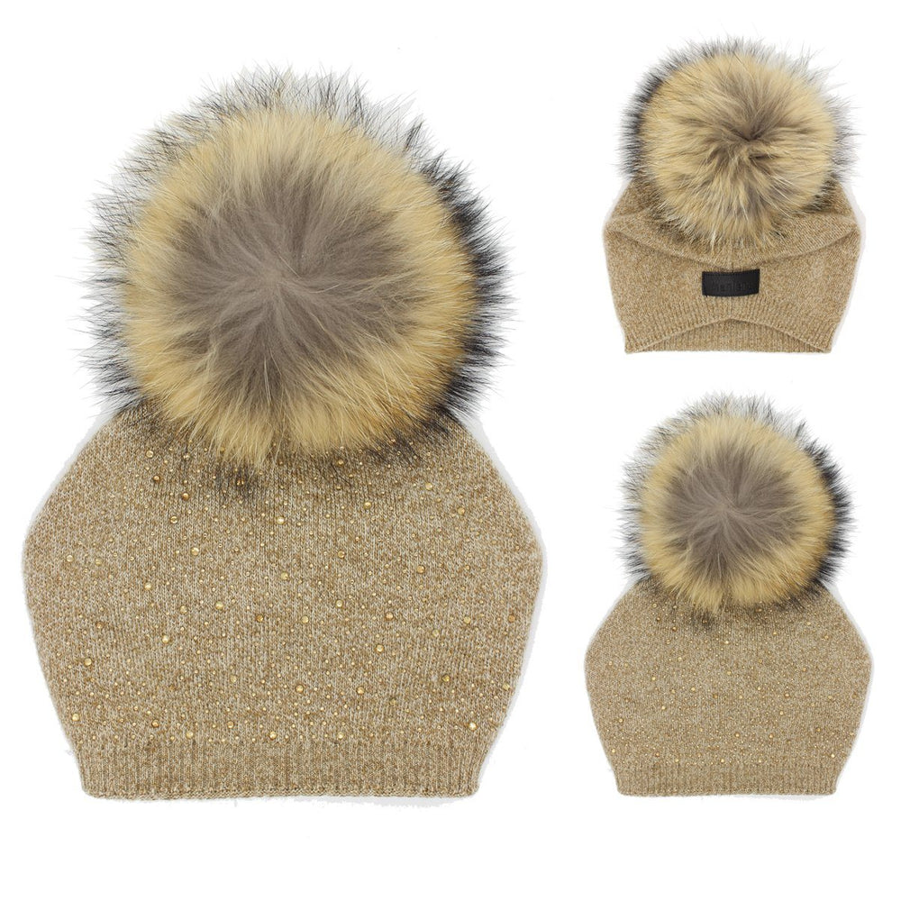 Load image into Gallery viewer, Sewn Knit Wool Hat Jumbo Fur Winter Hat Manière Sand Kids