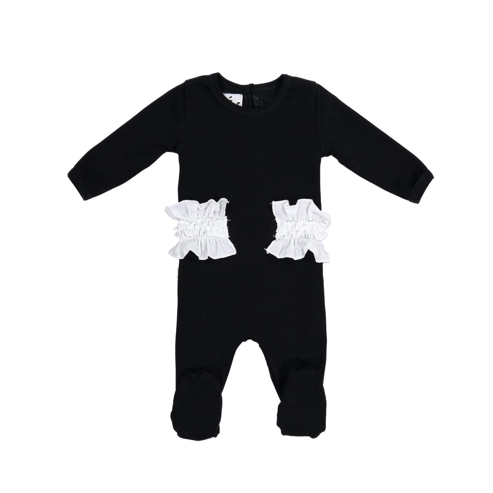 Side Poplin Footie Maniere Accessories Black 3 Month