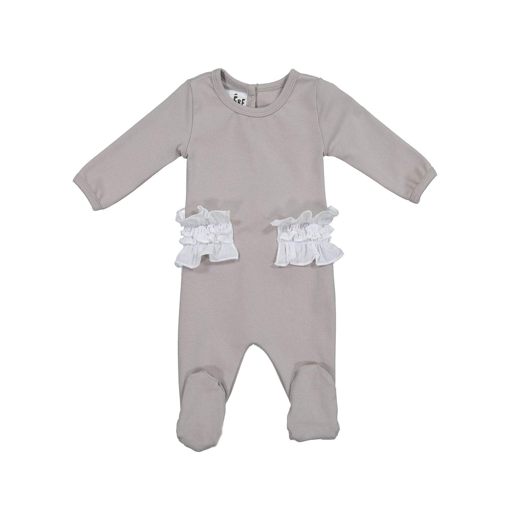 Load image into Gallery viewer, Side Poplin Footie Maniere Accessories Grey 3 Month