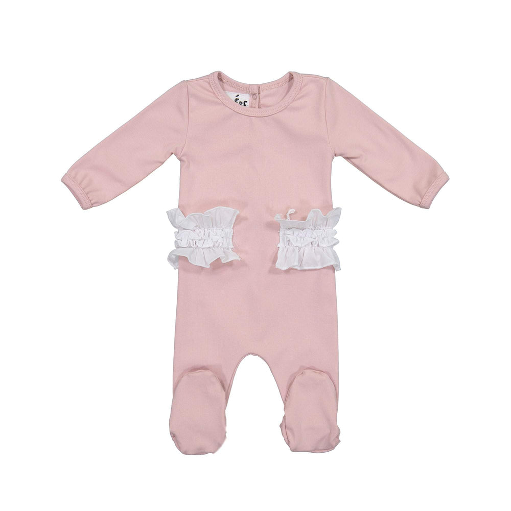 Side Poplin Footie Maniere Accessories Mauve 3 Month