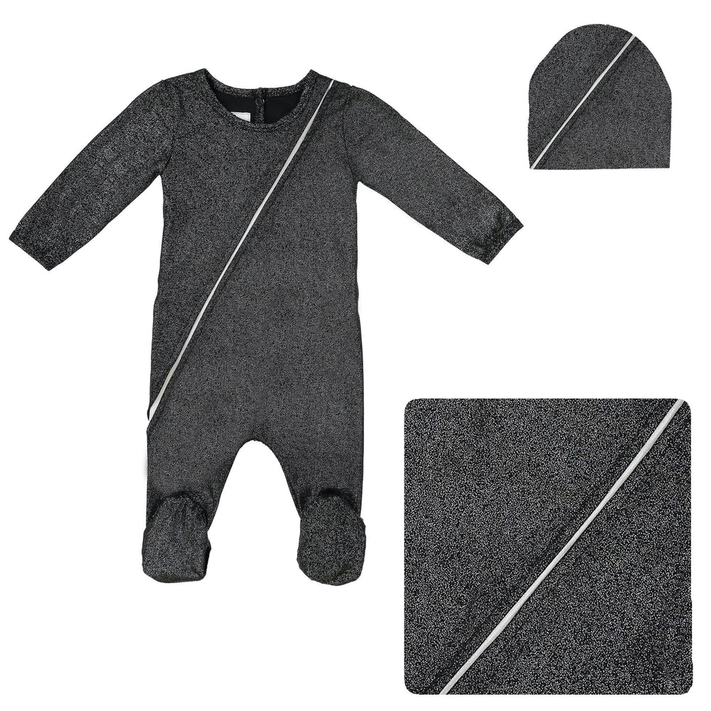 Load image into Gallery viewer, Slot Seam Footie Set Maniere Accessories Black 3 Month