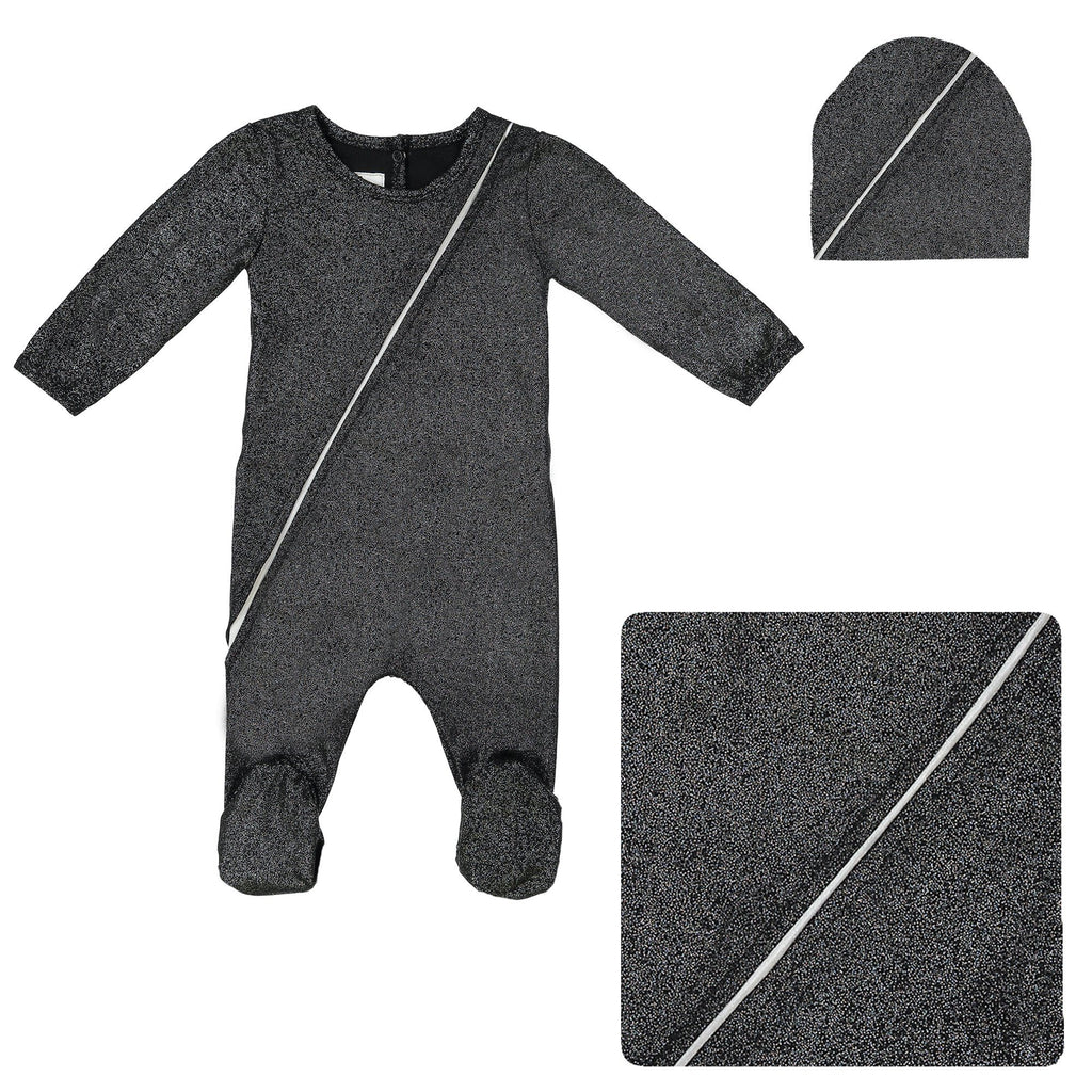 Slot Seam Footie Set Maniere Accessories Black 3 Month