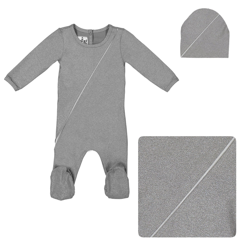 Slot Seam Footie Set Maniere Accessories Grey 3 Month