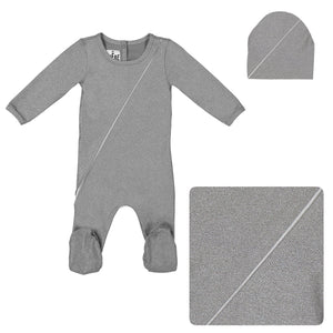 Load image into Gallery viewer, Slot Seam Footie Set Maniere Accessories Grey 3 Month