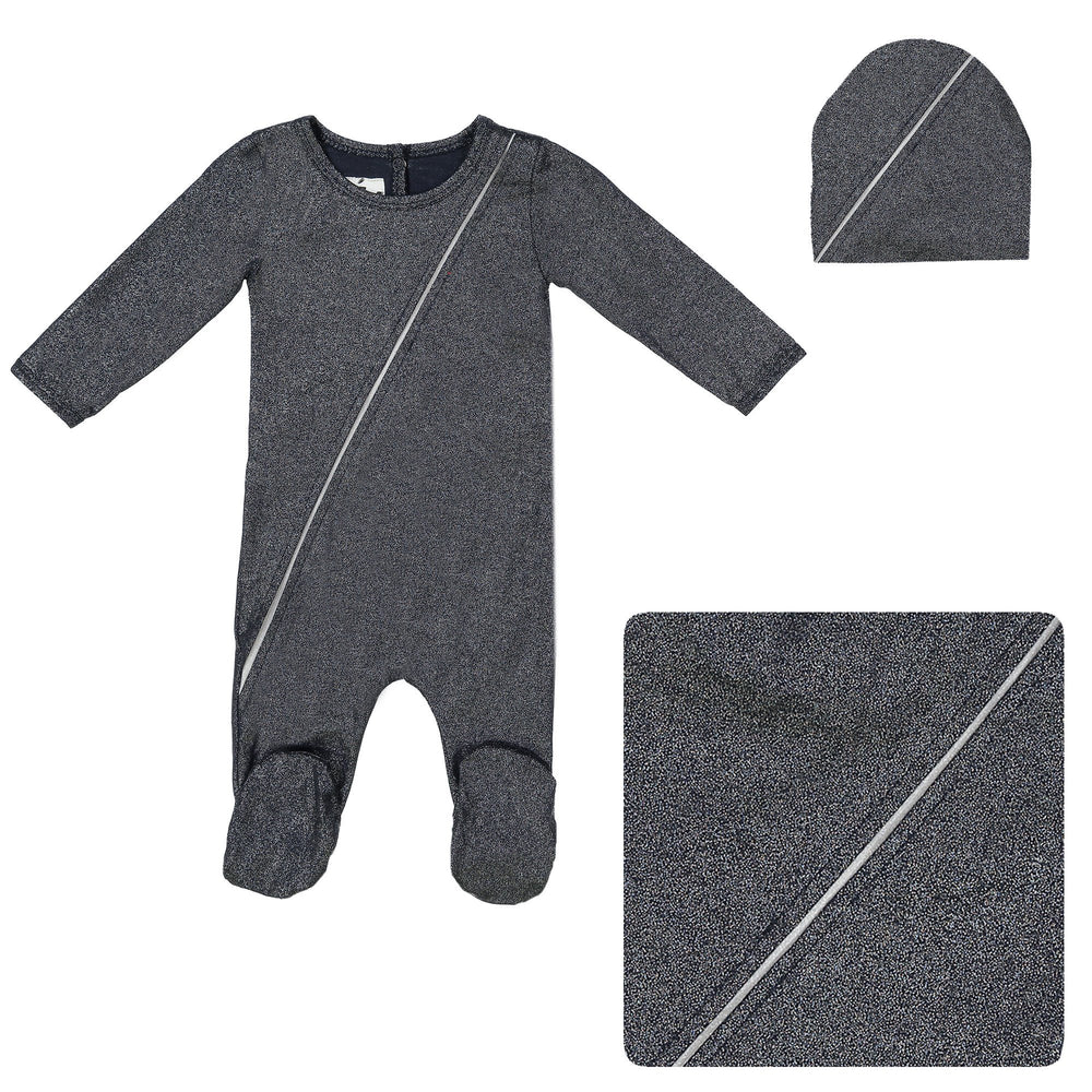 Load image into Gallery viewer, Slot Seam Footie Set Maniere Accessories Navy 3 Month