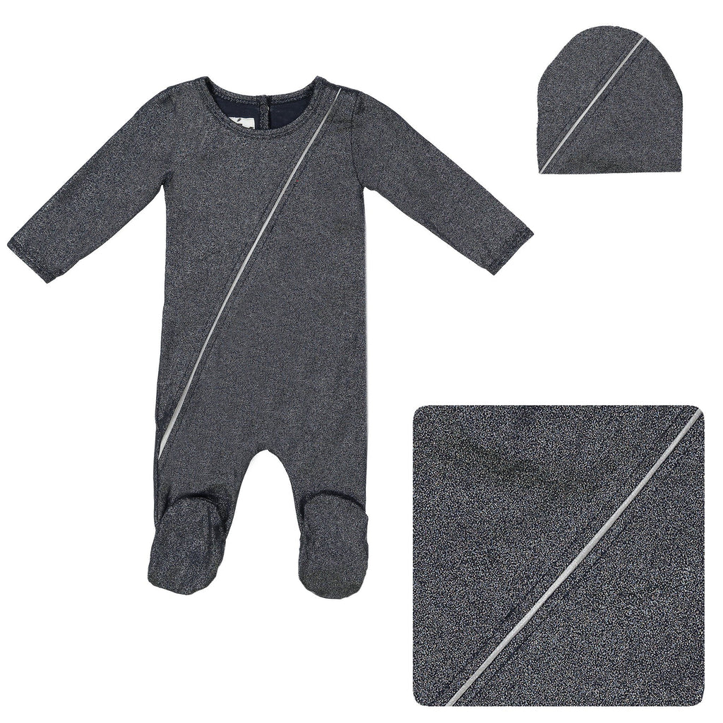 Slot Seam Footie Set Maniere Accessories Navy 3 Month