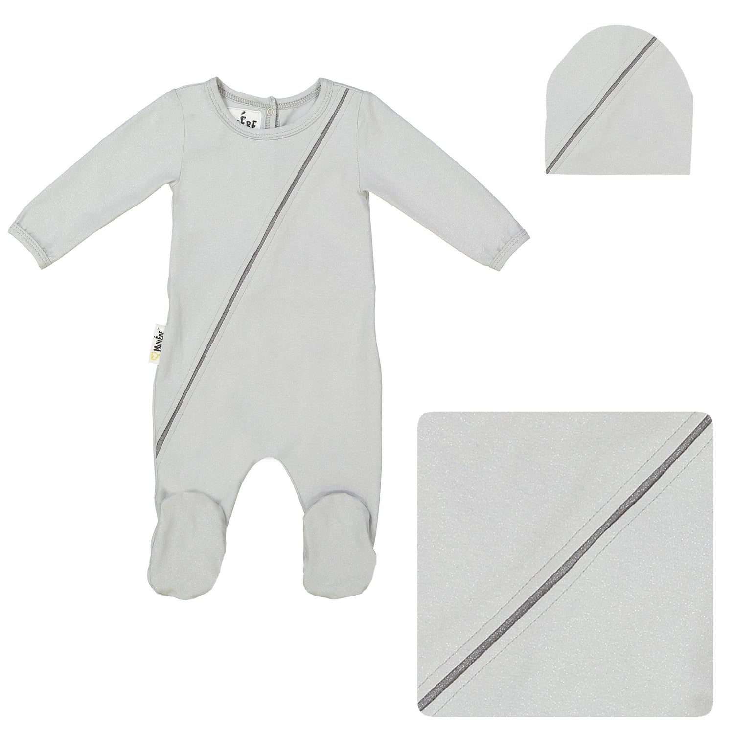 Slot Seam Footie Set Maniere Accessories Silver 3 Month