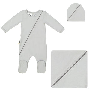 Load image into Gallery viewer, Slot Seam Footie Set Maniere Accessories Silver 3 Month