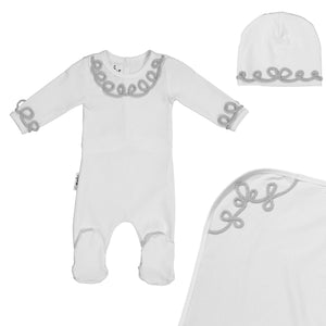 Load image into Gallery viewer, Soutache Design Footie Set Maniere Accessories Silver 3 Month