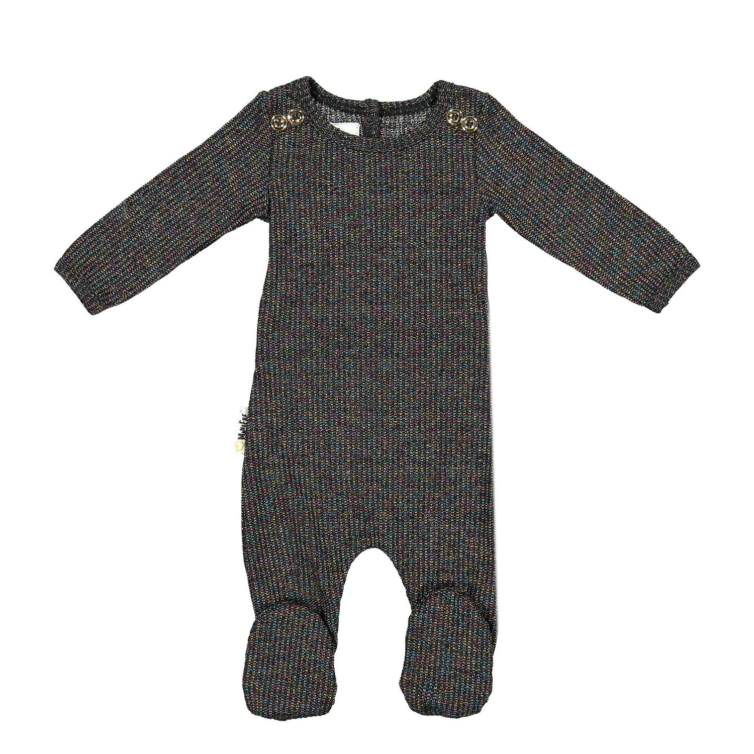 Sparkle Rib Footie Baby Footies Maniere Accessories Black 3 Months