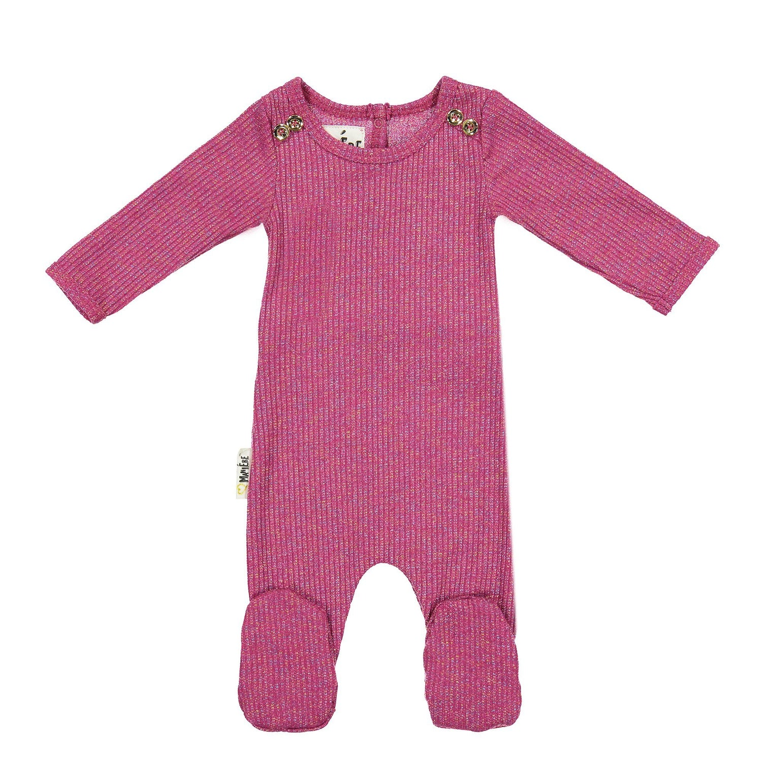 Sparkle Rib Footie Baby Footies Maniere Accessories Fuschia 3 Months