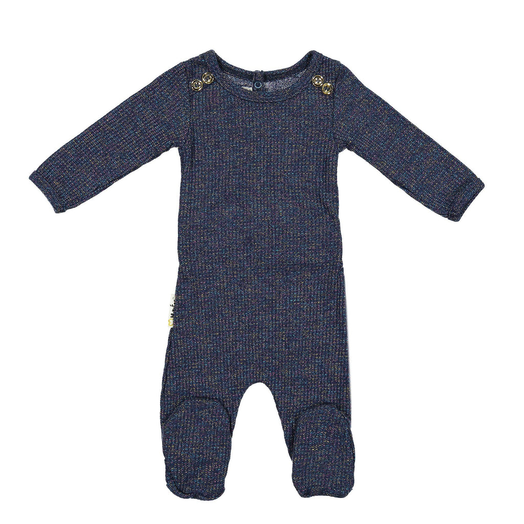 Sparkle Rib Footie Baby Footies Maniere Accessories Navy 3 Months