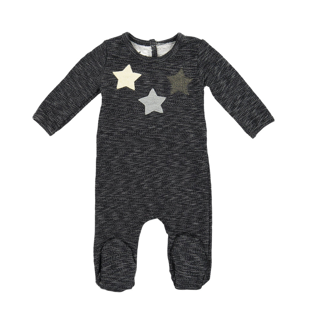 Star Applique Footie Maniere Accessories Black 3 Months