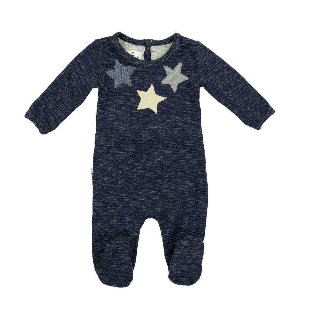 Star Applique Footie Maniere Accessories Navy 3 Months