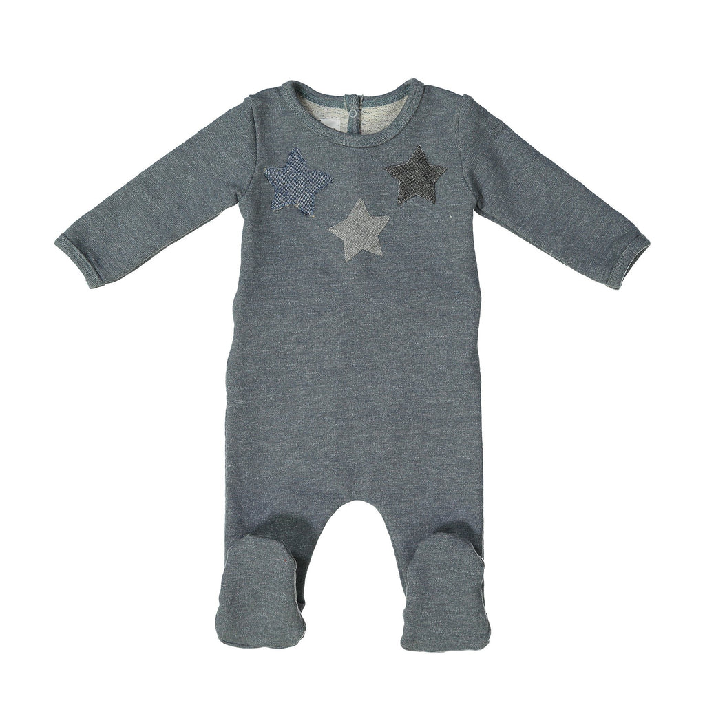 Star Applique Footie Maniere Accessories Slate 3 Months