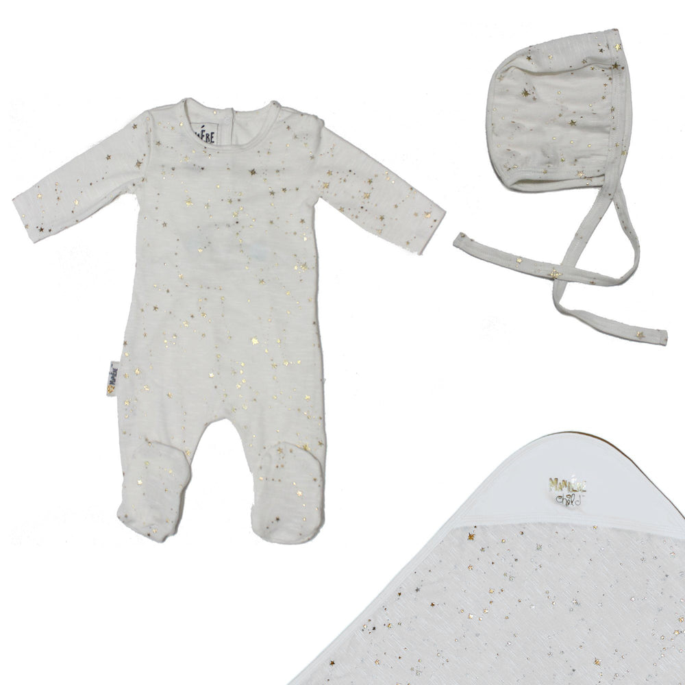 Star Embellished Set Baby Footies Maniere Accessories White 3 Months