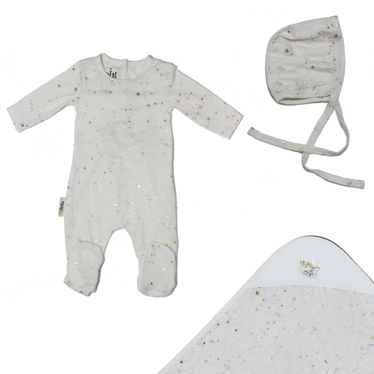 Star Embellished Set Baby Footies Maniere Accessories Soft Pink 3 Months