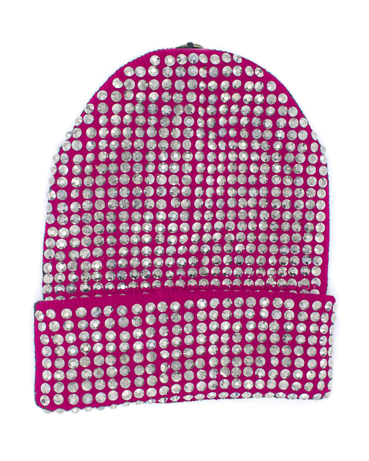 Studded Crystal Beanie With Snap For Pom