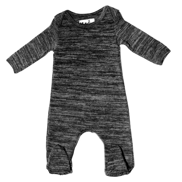 Sweater Knit Footie Baby Footies Maniere Accessories Grey 3M