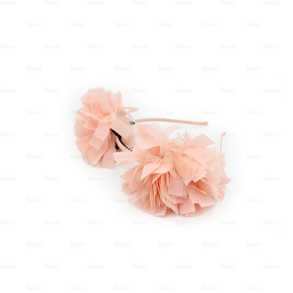 Tulle Double Flower Band Headband Manière Coral