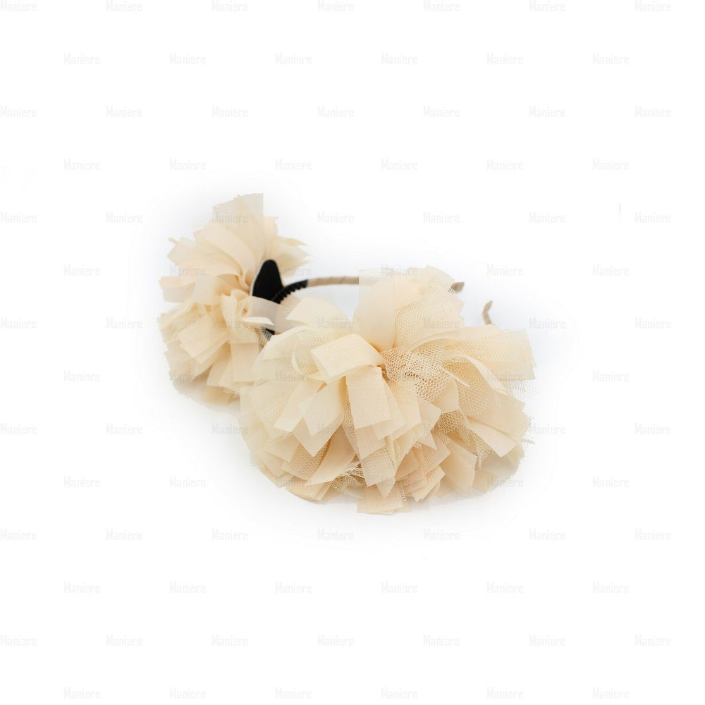 Tulle Double Flower Band Headband Manière Cream