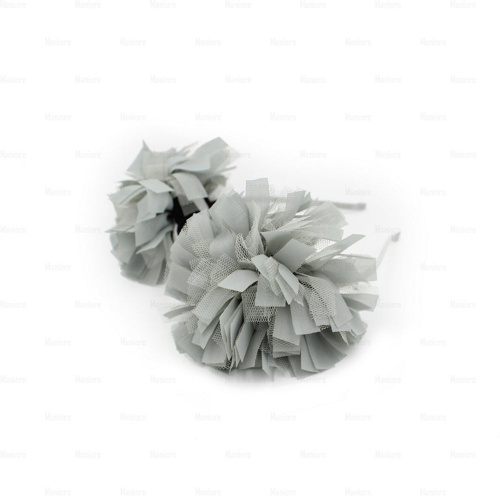 Tulle Double Flower Band Headband Manière Grey