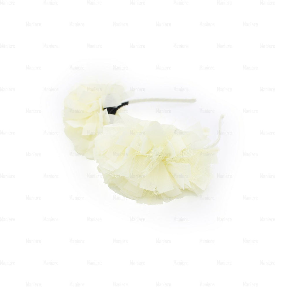 Tulle Double Flower Band Headband Manière Ivory