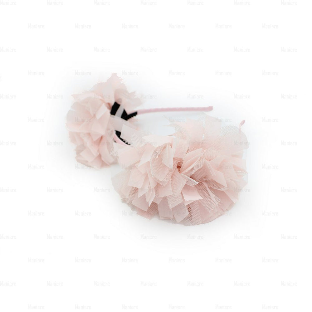 Tulle Double Flower Band Headband Manière Soft Pink