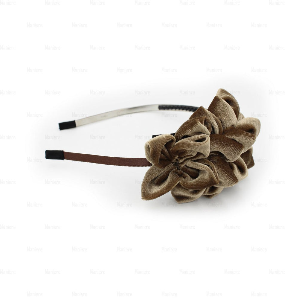 Tufted-Flower-Headband Headband Manière Brown