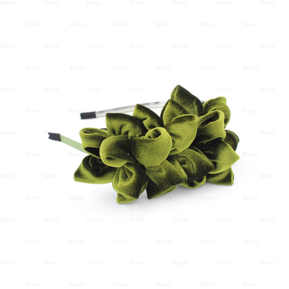 Tufted-Flower-Headband Headband Manière Olive