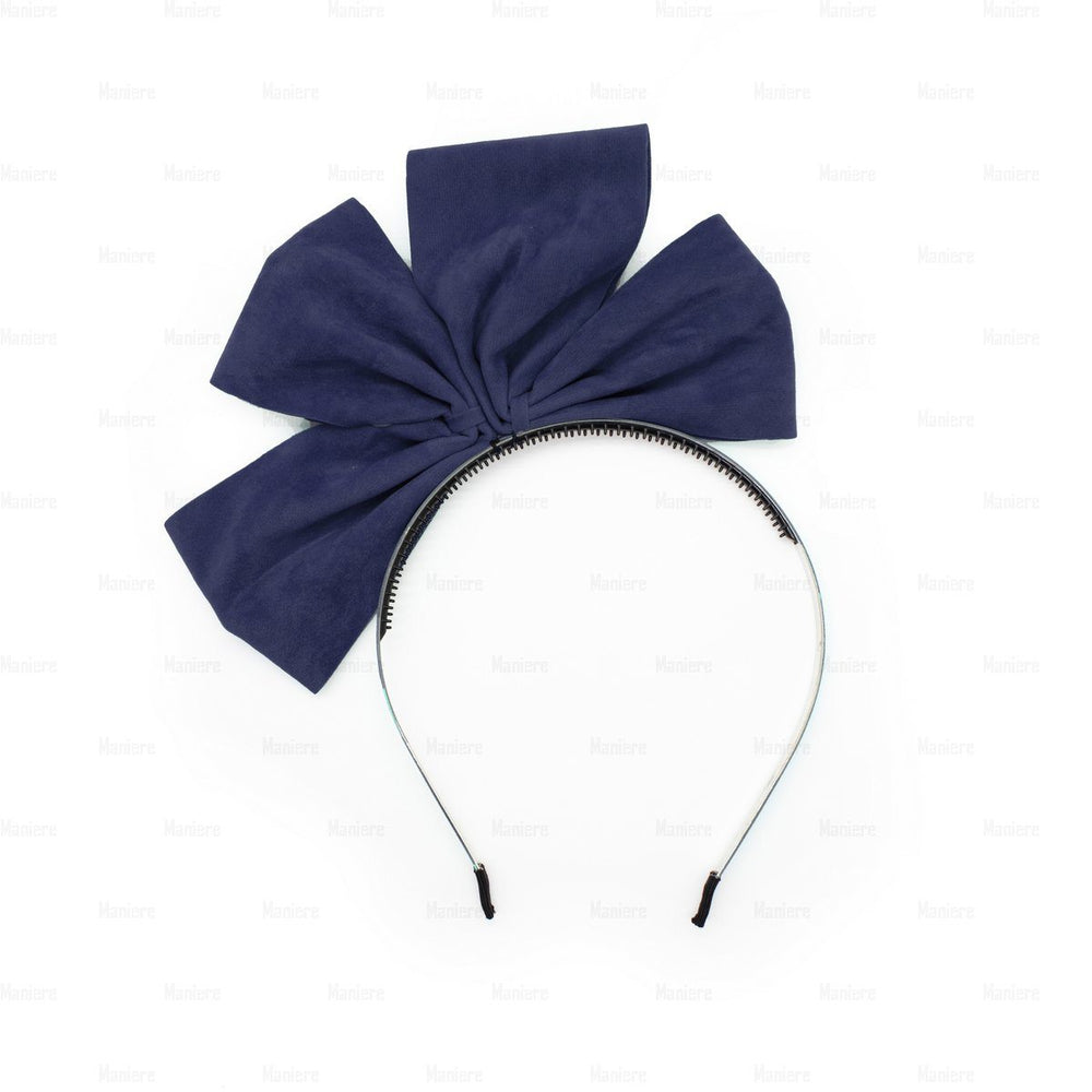 Two-Half-Suede-Bow Headband Manière Navy