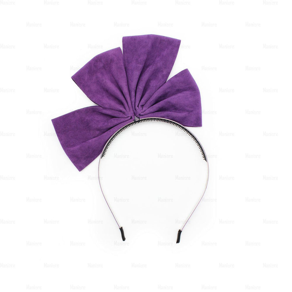 Two-Half-Suede-Bow Headband Manière Purple