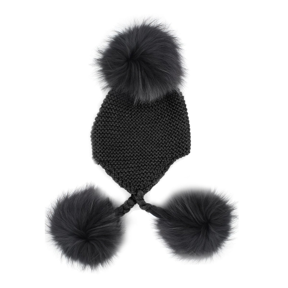 Triple Pom Pom Hat Maniere Black Genuine Raccoon Fur