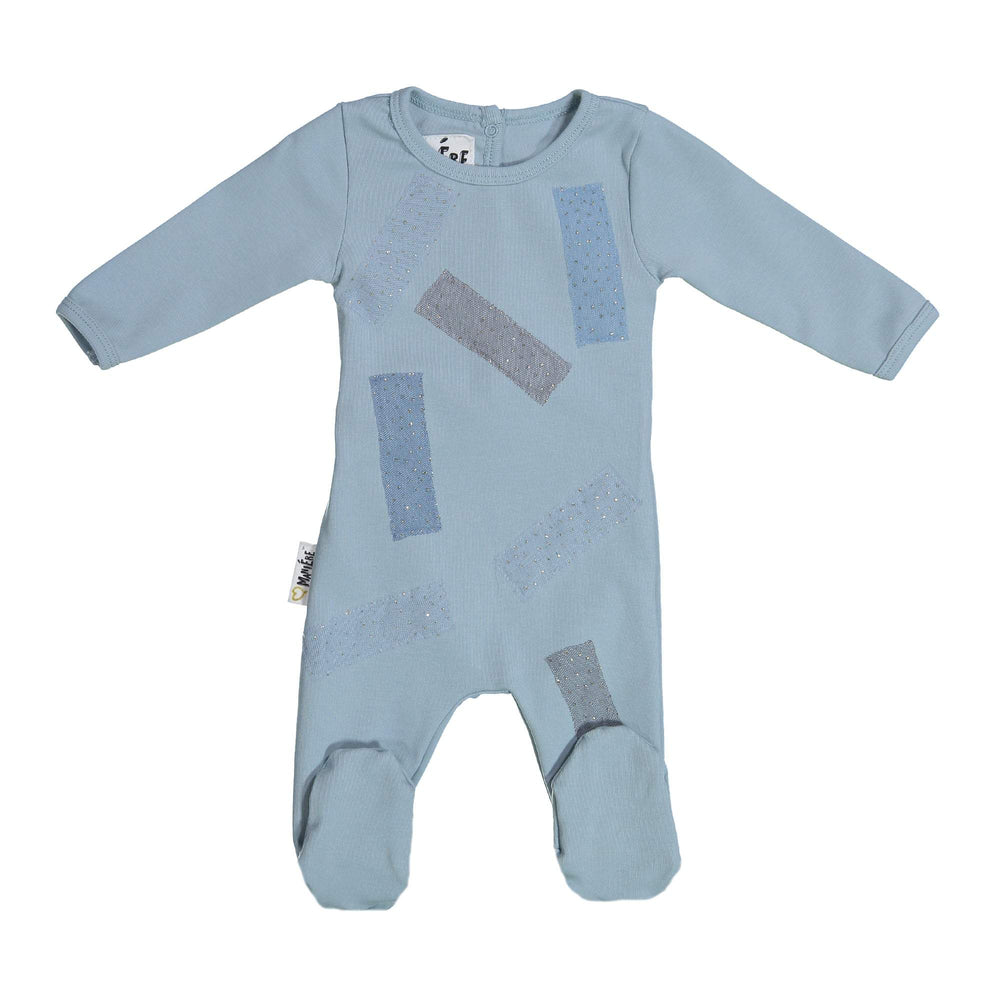 Load image into Gallery viewer, Tulle Patch Footie Maniere Accessories Blue 3 Month