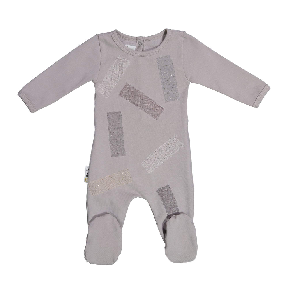 Load image into Gallery viewer, Tulle Patch Footie Maniere Accessories Grey 3 Month
