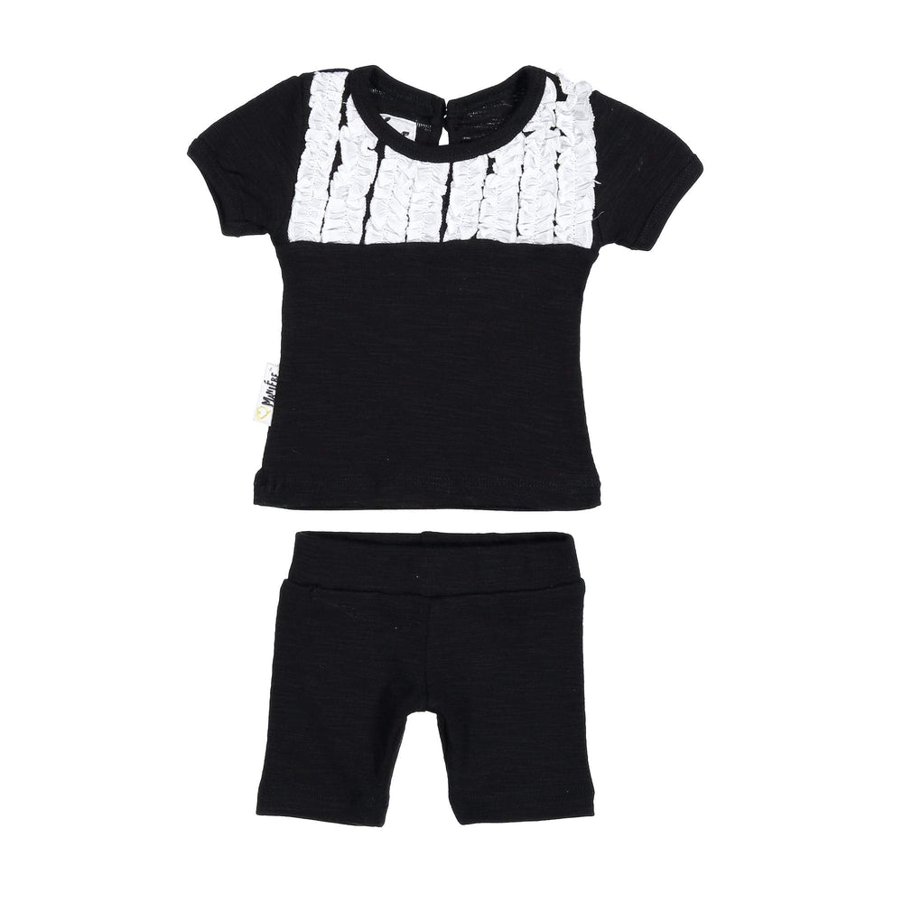 Tux Ruffle Two Piece Set Maniere Accessories Black 3 Month