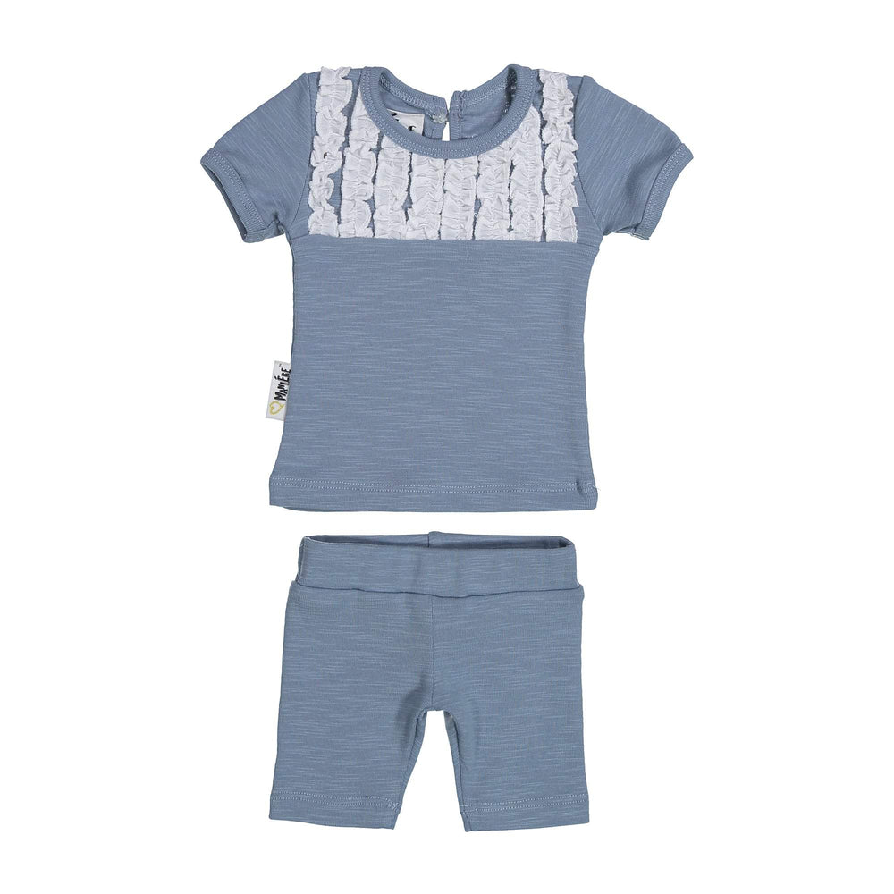 Tux Ruffle Two Piece Set Maniere Accessories Blue 3 Month