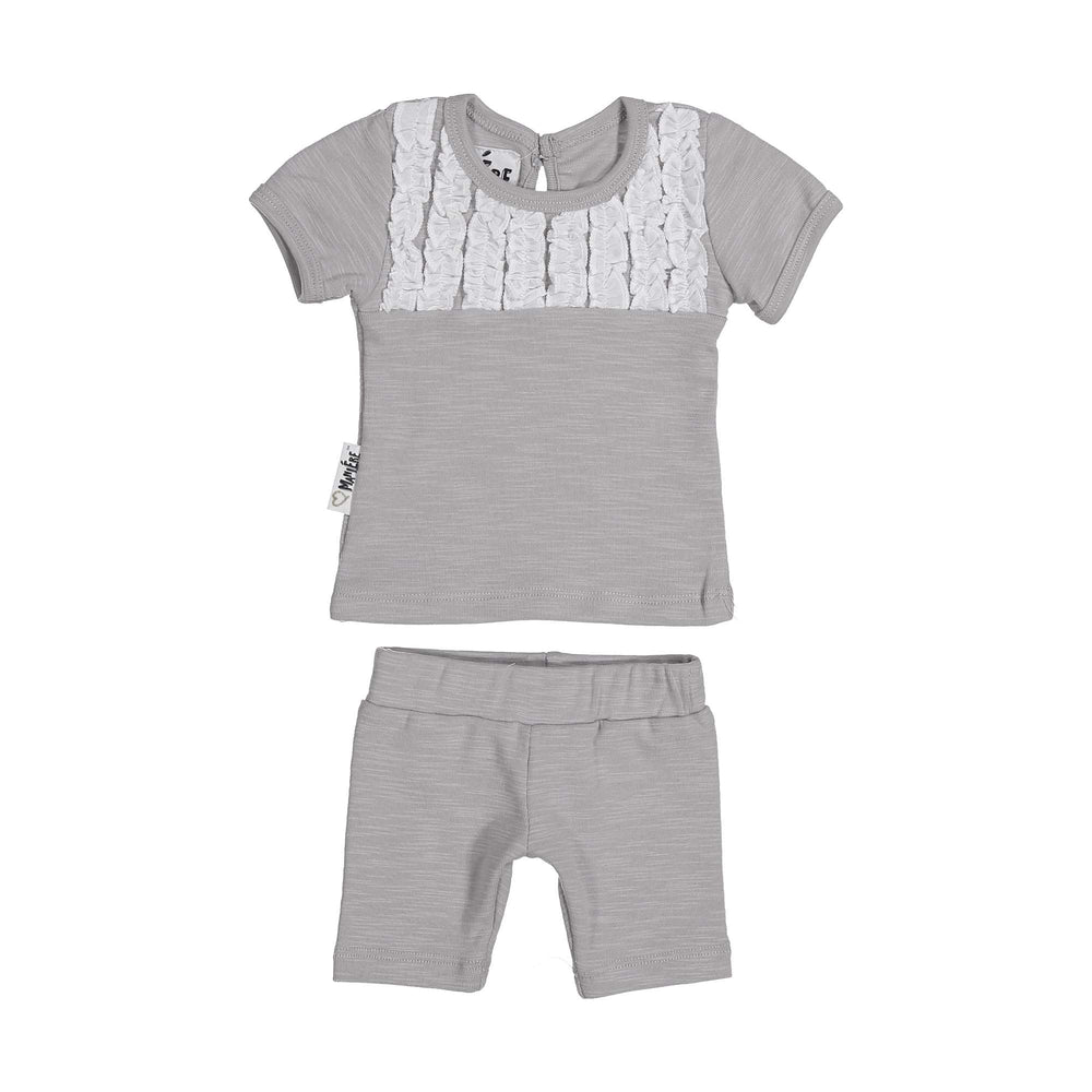 Tux Ruffle Two Piece Set Maniere Accessories Grey 3 Month