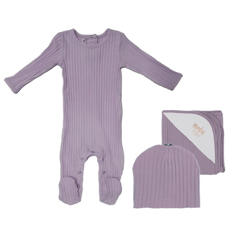 Ribbed Cotton Baby Sets (with Matching or Natural Pom) Baby Sets Maniere Accessories Maroon 3 Month
