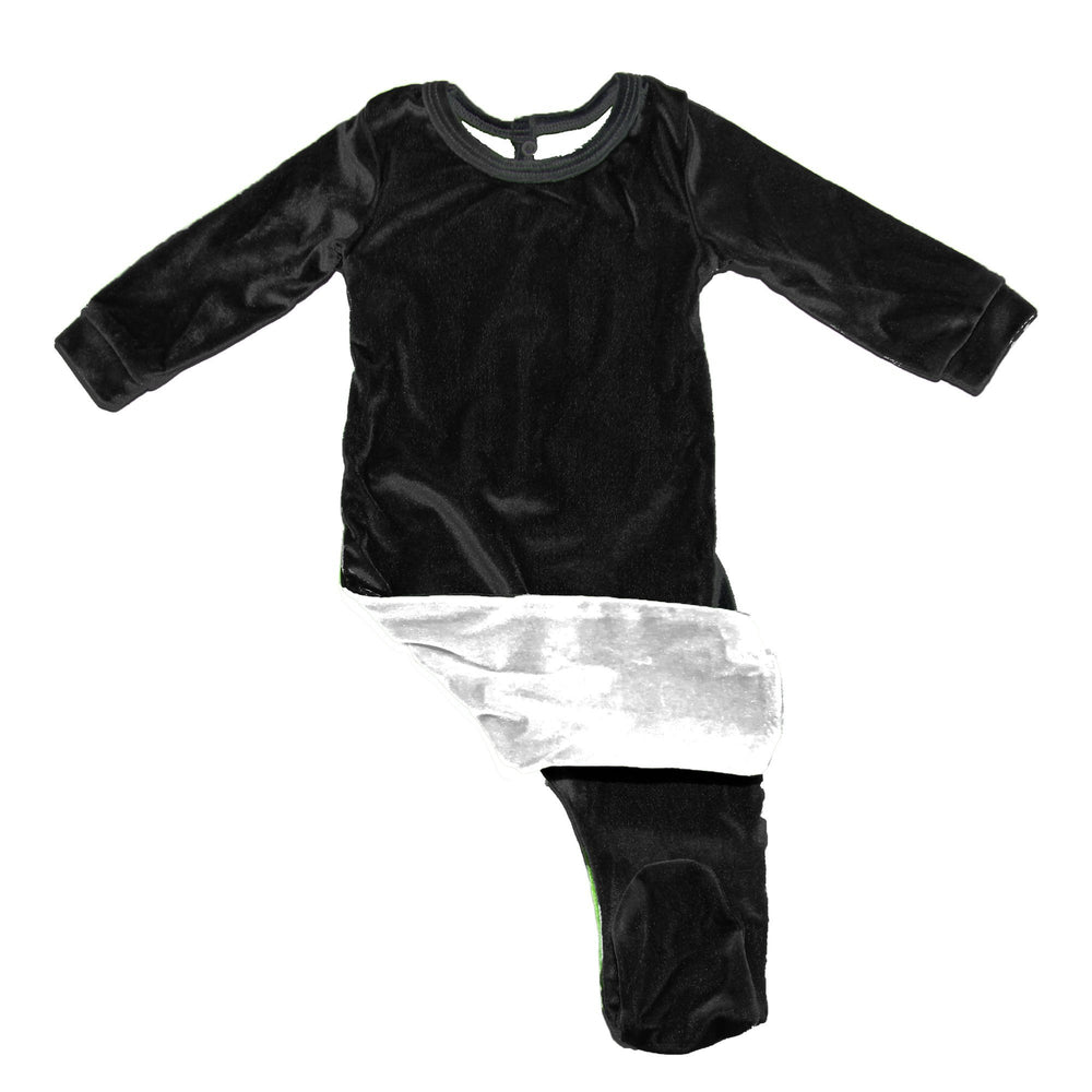 Velour Color Block Footie Baby Footies Maniere Accessories 3 Month Black/White