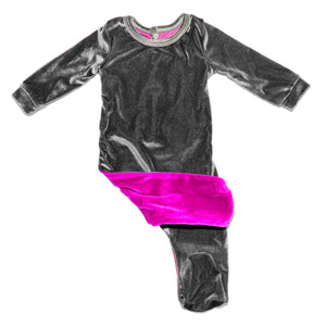 Velour Color Block Footie Baby Footies Maniere Accessories 3 Month Pink/Grey