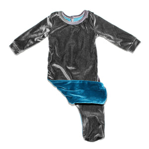 Velour Color Block Footie Baby Footies Maniere Accessories 3 Month Turquoise/Grey
