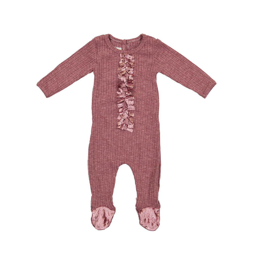 Velour Ribbed Footie Maniere Accessories Berry 3 Month