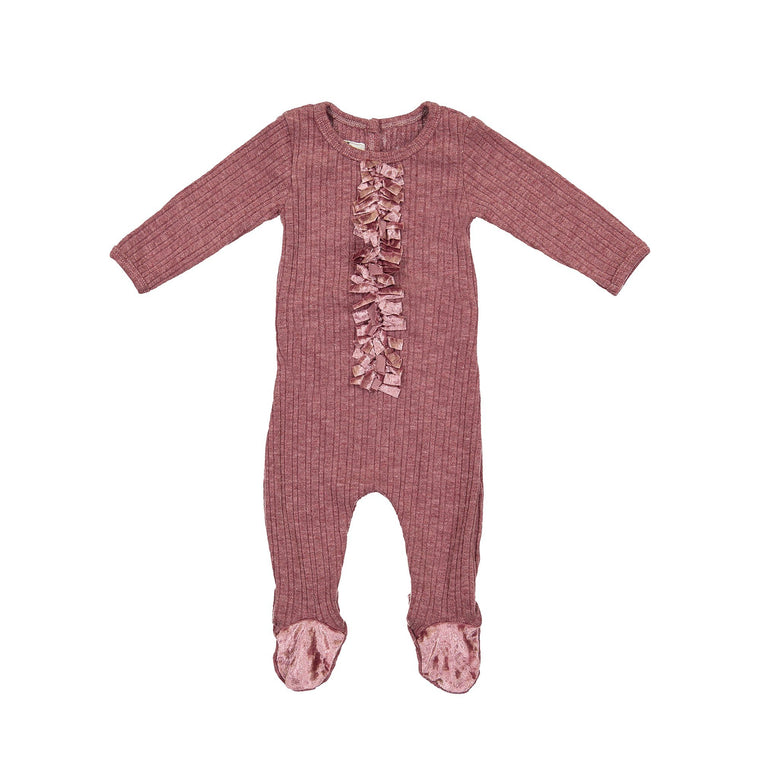 Velour Ribbed Footie Maniere Accessories Mauve 3 Month